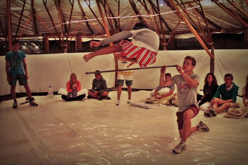 summer camps for teens tarifa, lenguaventura student jumping