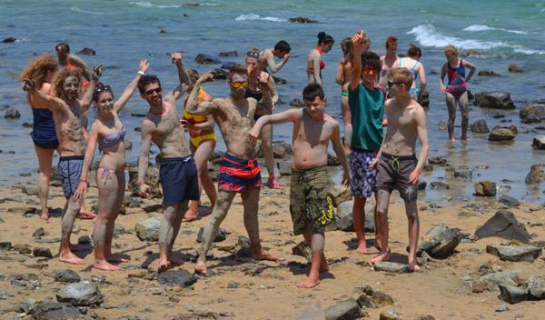 Beach-activity-summer-camp-Tarifa-Spain, mud care Valdevaqueros beach