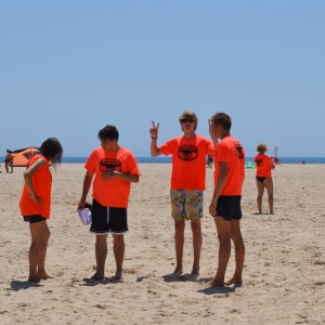 Kitesurf camp for teens, waiting for wind os Lances Beach