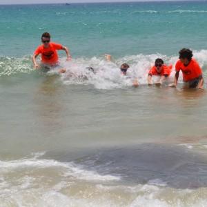 kitesurf camp for teens, kitesurf students enjoying themselves