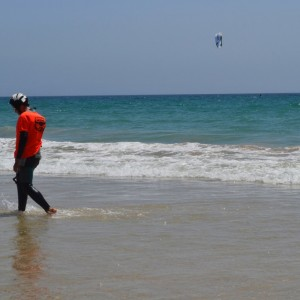 kitesurf camp for teens, kitesurfer in Tarifa on the beach