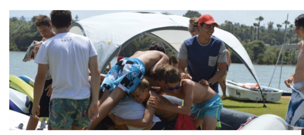 teen summer camps, having fun with camp mates, beach Sotogrande