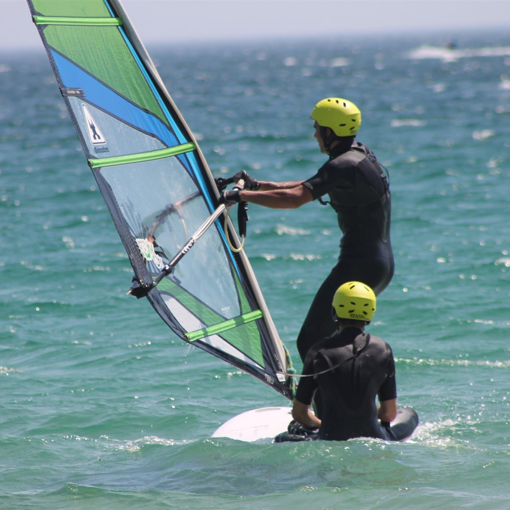 spain summer camps, practicing windsurf valdevaqueros beach