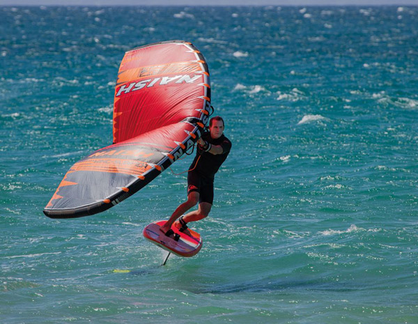 Wing-action, wing surfer invented by Robby Naish