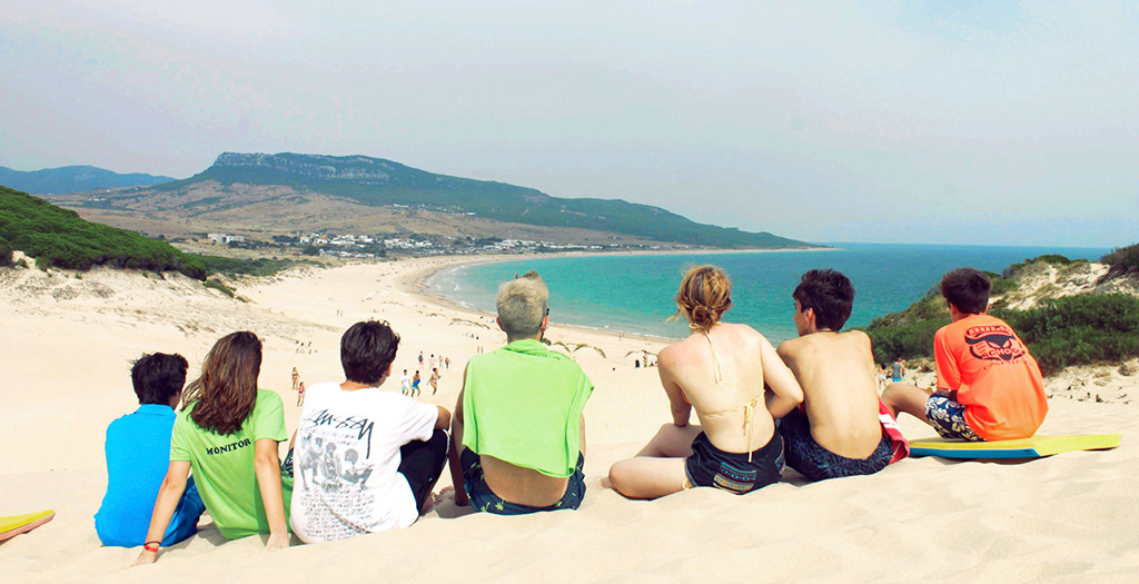 Spain-summer-camps, campers enjoying a beach day in Tarifa